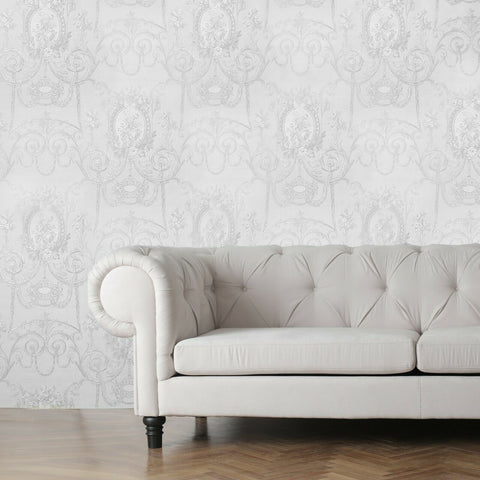 WMBL1007101 Embossed Floral white gray damask Victorian Wallpaper