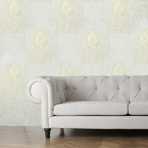 WMBL1007301 Floral Beige cream Gold toile damask Victorian Wallpaper