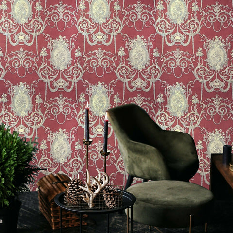 WMBL1007501 Floral burgundy red Gold toile damask Victorian Wallpaper