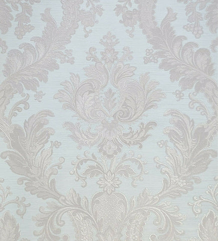 WMJC1007301 Victorian Gray turquois baby blue cream damask Wallpaper