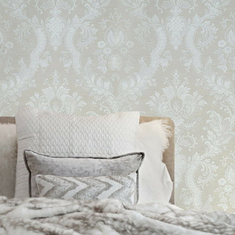 WMJC1007401 Victorian Tan white cream gold metallic damask Wallpaper