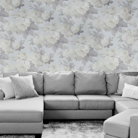 WMJM1001601 Gray Silver brass flowers floral faux fabric Wallpaper