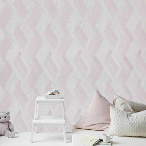 WMJM1006201 Pastel pink cream pearl off white stripe Wallpaper