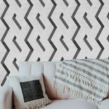 WMJM1006501 Textured Black White abstract stripes 3D Illusion Wallpaper