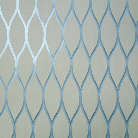 WMSD50102401 Beige blue geometric mesh netting diamond Wallpaper