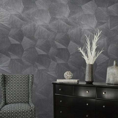 Z21852 Charcoal Black Hexagon triangle faux fabric textured 3D illusion wallpaper
