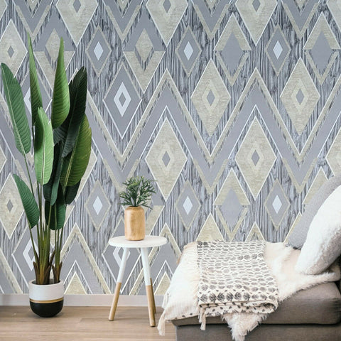 Z3426 Geometrical diamonds Chevron Gray Silver Gold Wallpaper