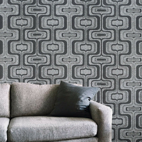 Z44505 Zambaiti Modern charcoal gray silver metallic wave Textured trellis Wallpaper