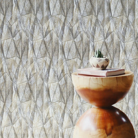Z44529 Zambaiti Bronze gray gold metallic geometric triangles textured Wallpaper