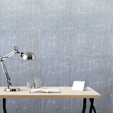 Z44555 Zambaiti gray blue beige rose gold metallic Textured abstract Wallpaper
