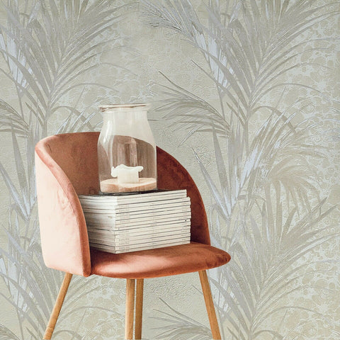 Z5571 Zambaiti beige cream floral tropical palm leaves textured Wallpaper