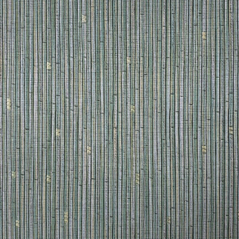 Z63002 Zambaiti green silver gold metallic vertical bamboo lines textured Wallpaper
