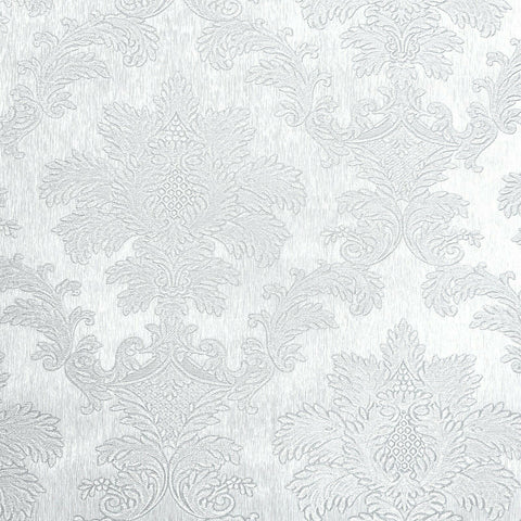 Z72003 Zambaiti White Victorian damask faux silk fabric Wallpaper