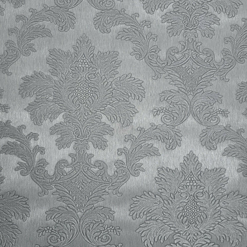 Z72007 Zambaiti Gray silver metallic Victorian damask faux silk Wallpaper
