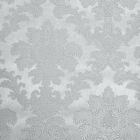 Z72011 Zambaiti Silver gray metallic textured floral Victorian damask Wallpaper