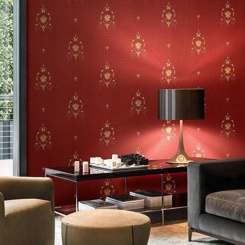 Z72015 Zambaiti Burgundy red gold small diamonds Victorian damask Wallpaper