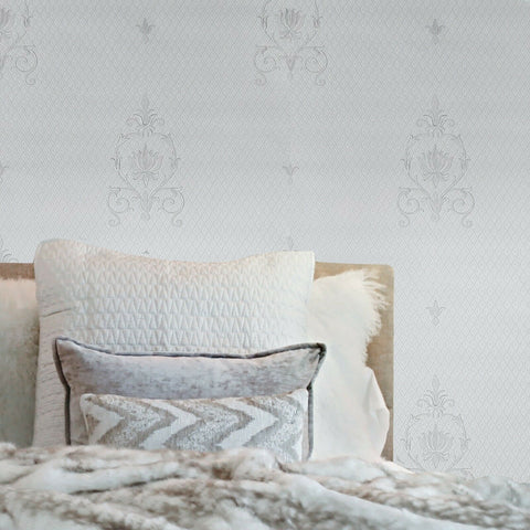 Z72018 Zambaiti Off grayish white metallic diamonds Damask Wallpaper