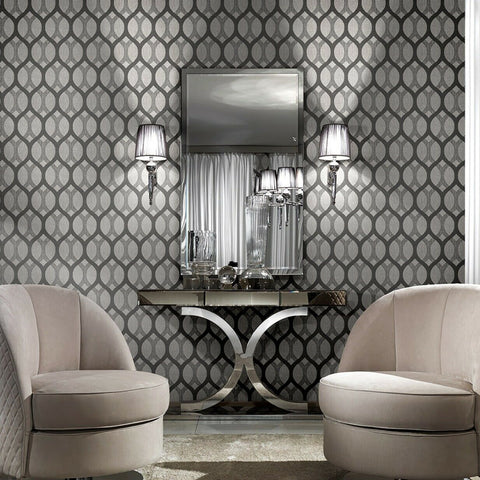 Z72034 Zambaiti Black gray silver metallic diamonds Geometric Wallpaper