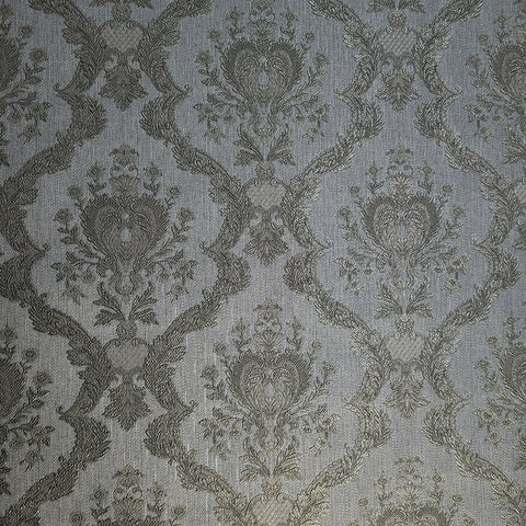 Z72053 Zambaiti Gray silver bronze brass Victorian damask Wallpaper