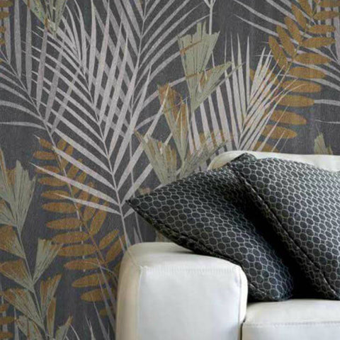 255006 Floral Tropic Animalier Gray Wallpaper