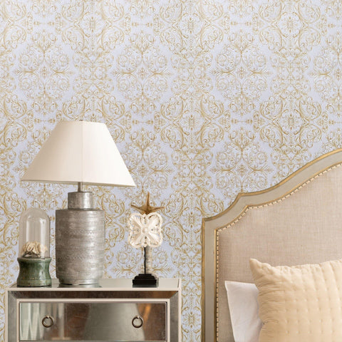 6452-02 paper Wallpaper vintage damask yellow white gold textured 3D - wallcoveringsmart