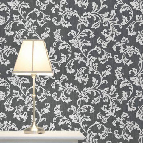 WM4098901 Textured black gray damask embossed Wallpaper - wallcoveringsmart