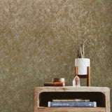Textured Plain yellow orange gold metallic faux plaster Wallpaper