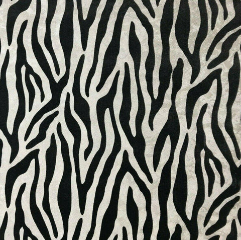 115018 Flocked Wallpaper white black Textured Flocking velvet animal fur