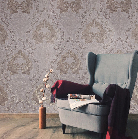 Wallpaper Persian Damask dust pink rose Gold Metallic textured