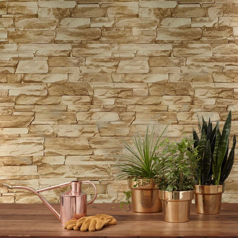 C772-05 Brick Yellow Stone 3D Wallpaper
