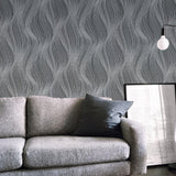 WM0115310701 textured wavy lines wallpaper Black Gray Silver waves 3D - wallcoveringsmart