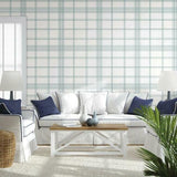 CV4469 York Charter Plaid Geometric Mint Wallpaper
