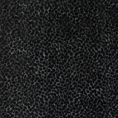 115014 Charcoal Black Flock Spot Dot Wallpaper