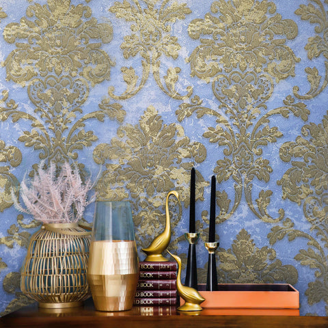 500003 Wallpaper blue brass Metallic Textured Victorian rustic Damask