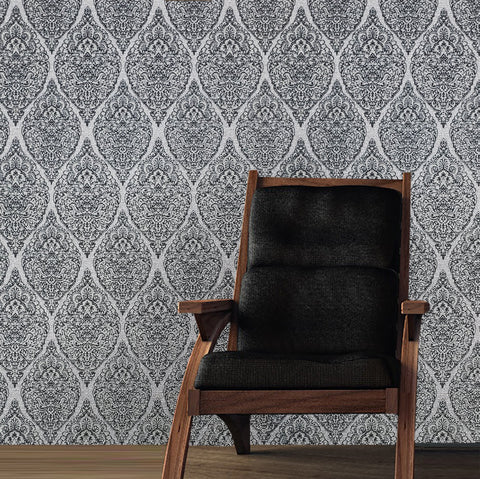 Wallpaper diamond damask fabric pattern textured white gray black