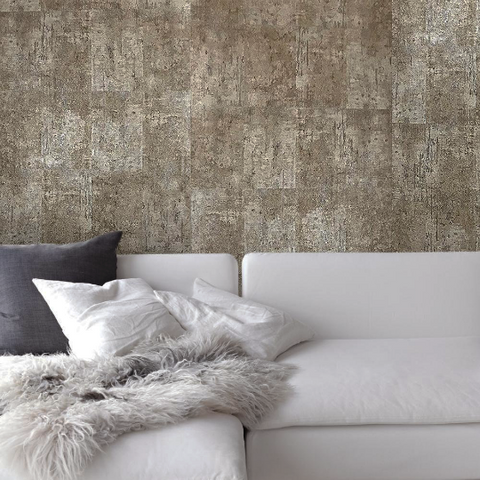5559-13 Modern Rustic Concrete Metallic Stone Taupe Beige Wallpaper roll - wallcoveringsmart