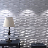 "20"" x 20"" Textured Wall Panels White Wave Modern"