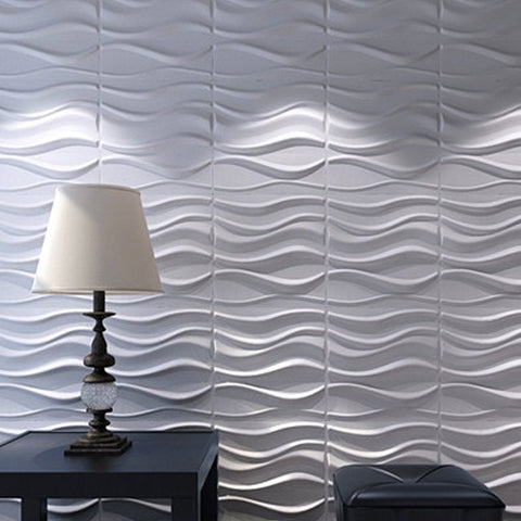 "20"" x 20""wallcoveringsmart Textured Wall Panels White Wave Modern"