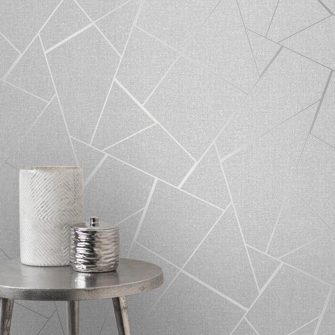 WM4228001 Wallpaper Gray Silver Metallic Textured Geometric Triangle Glitter