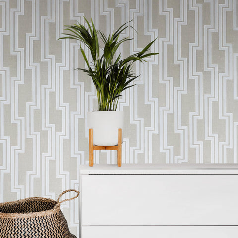 WM0190190401 Contemporary Wallpaper Beige White geometric Lines Textured