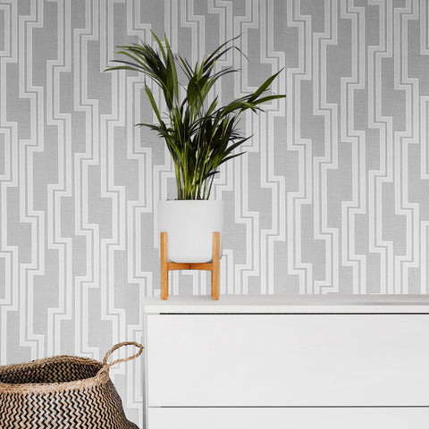 WM0190190301 Textured Wallpaper Gray off white cream geometric Lines