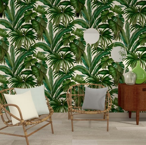 96240-5 Versace Palm Leaf White Green Textured Embossed Wallpaper