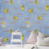 M327-03 Blue doggies Knit Dog Kids room Nursery Wallpaper