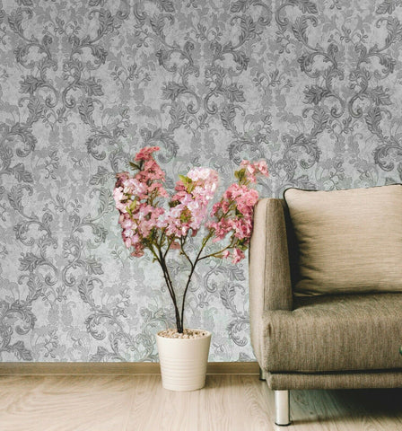 Gray off White Silver Metallic cracked textured Wallpaper Damask 3D