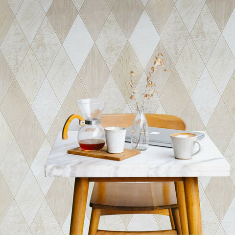Wallpaper tan beige gold Textured Modern faux diamond Tiles
