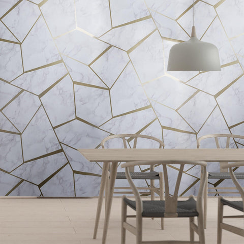 WM014226501 Triangle Geometric lines wallpaper white gray bronze metallic faux marble