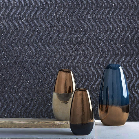 Real Natural Mica Vermiculite charcoal Gray silver metallic wave lines Wallpaper black