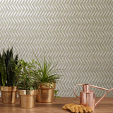 I241 Natural Mica Vermiculite taupe brass metallic wave lines Wallpaper - wallcoveringsmart
