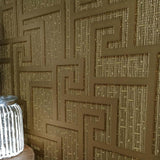 96236-1 Gold Metallic Greek Key Textured Versace Wallpaper