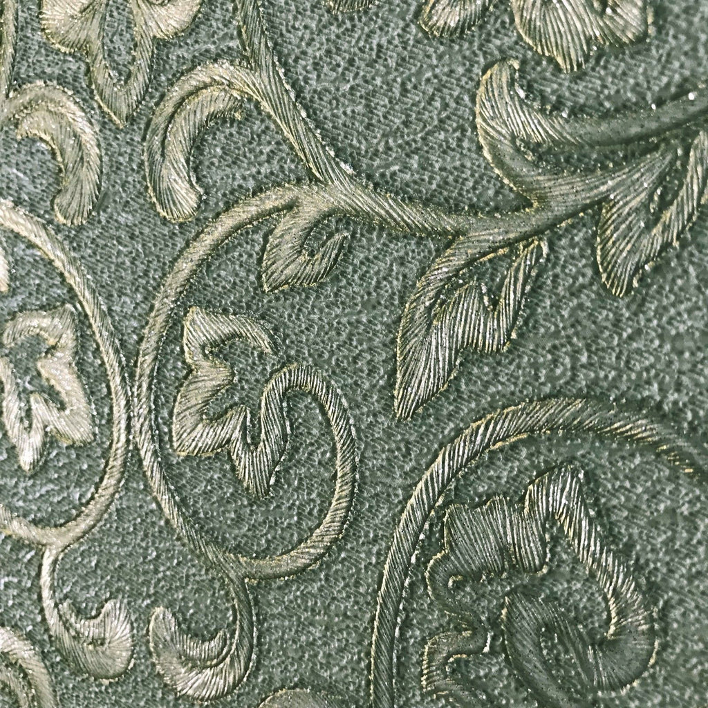 8536 04 Embossed Wallpaper Textured Victorian Damask Green